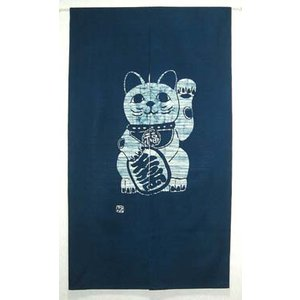 本ろうけつ染 招き猫のれん 青(150cm丈)|norenya-kyo