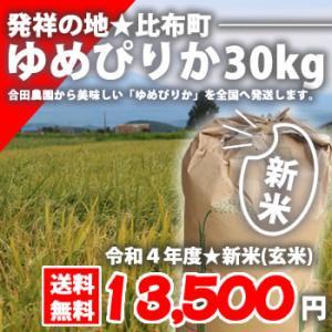 【送料無料】北海道比布町産ピカピカの新米★令和2年度産ゆめぴりか 30kg(玄米)