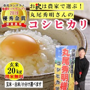 玄米 20kg 丸尾秀明さんのコシヒカリ  精米無料 玄米/白米選べます 播磨N-1グランプリ2019優秀金賞受賞農家 令和2年兵庫県産|noukamai