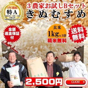 玄米1kgx3 精米無料 玄米/白米選べます きぬむすめ3農家食べ比べお試しBセット 4年連続特A米 稲美金賞農家の米 兵庫県南産|noukamai