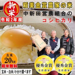 玄米20kg 中新田営農組合のコシヒカリ  精米無料 玄米/白米・小分け選べます 令和2年兵庫県稲美町産 産地直送 稲美金賞農家の米|noukamai