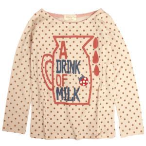 長袖 Tシャツ 子供 キッズ 女の子 ミルク かわいいプリント 子供服 novice-sf