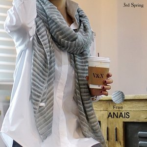 韓国 ファッション マフラー レディース グレー ストライプマフラー|nowistyle-y
