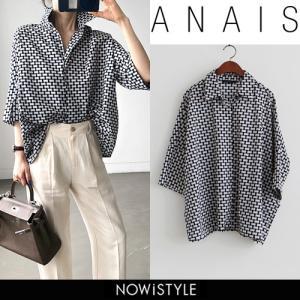 韓国 ファッション シャツ レディース オフィス ブラウス 半袖 スクエア柄ゆったりシャツ|nowistyle-y