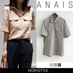 韓国 ファッション シャツ レディース オフィス ブラウス 半袖 ビックポケットリネン混紡5分シャツ|nowistyle-y