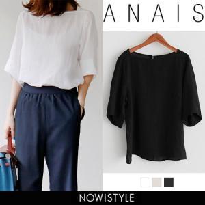 韓国 ファッション シャツ レディース オフィス ブラウス 半袖  リネン100%七分ブラウス|nowistyle-y