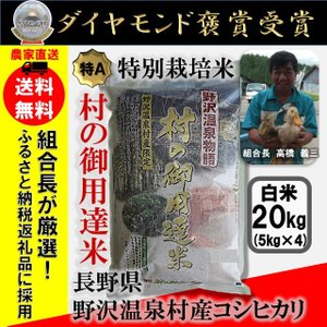 【送料無料】29年産 白米 20kg(5kg×4) コシヒカリ「野沢温泉物語 村の御用達米」 減農薬・有機肥料