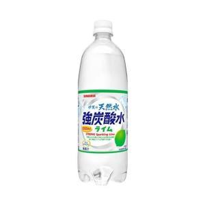 送料無料 サンガリア 伊賀の天然水 強炭酸水 ライム 1Lペットボトル×12本入|nozomi-market