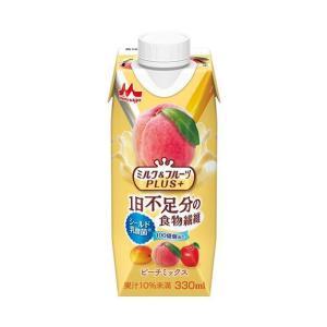 【送料無料】森永乳業 ミルク&フルーツPLUS+ ピーチミックス(プリズマ容器) 330ml紙パック×12本入|nozomi-market