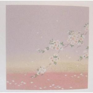 21-6 正絹ちりめん友仙ふろしき「観世水に桜(藤)」45cm