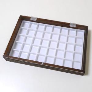 木製箱アクリル蓋 30mm角ルースケース用 茶:白 No.9903 nts