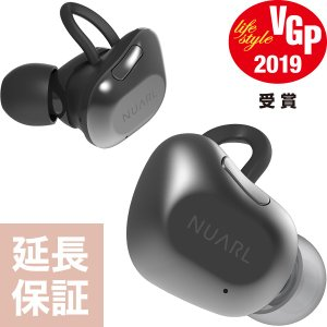 【公式ストア】NUARL NT01B Bluetooth5/完全ワイヤレス/IPX4耐水/5h再生/マイク付/軽量5g/左右独立ステレオイヤホン(ブラックシルバー)※延長保証+6ヶ月付|nuarl