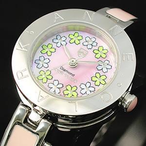 ANNE CLARK レディース腕時計/アンクラーク 人気 AA-1026 花びら柄 ハートチャーム ウォッチ/腕時計/ANNE CLARK女性用腕時計|nuchigusui
