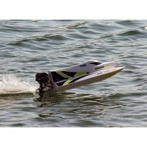 【ラジコン レーシング ボート】ほぼ完成キット ブラシレスモーター、サーボ組込み済み Marine Hydrotek F1 Tunnel Hull Racing Boat (590mm)