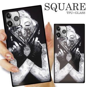 ガラスケース TPU 強化ガラス SQUARE iPhone SE2 SE アイフォン11 Pro FUCK BITCH マリリンモンロー タトゥー トライバル Tattoo girl 海外 セレブ|numbers
