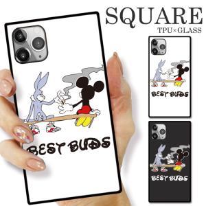 ガラスケース TPU 強化ガラス SQUARE iPhone SE2 SE アイフォン11 Pro BEST BAD キャラクター 煙草 もらいタバコ 悪友 おもしろデザイン おしゃれ トレンド|numbers