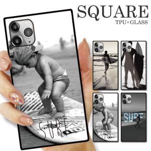 ガラスケース TPU 強化ガラス SQUARE iPhone SE2 SE アイフォン11 Pro SURF SURFRIDER サーフ サーフィン アロハ ALOHA ハワイ 海 波乗り デザイン おしゃれ|numbers