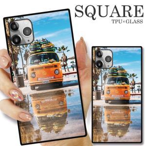 ガラスケース TPU 強化ガラス SQUARE iPhone SE2 SE アイフォン11 Pro SURF 夏 サーフィン 海 SEA ビートル 車 ALOHA|numbers
