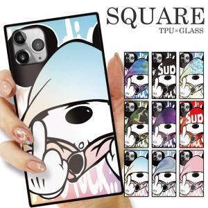 ガラスケース TPU 強化ガラス SQUARE iPhone SE2 SE アイフォン11 Pro ass Mouse FUCK ファック ネズミッキー パロディ おもしろ デザイン 可愛い|numbers