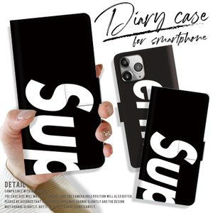 手帳型スマートフォンケース iPhone Superme 大人気 パロディ モード おしゃれ トレンド ボックスロゴ シュプリーム Supreme好き必見