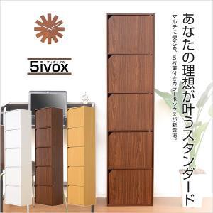 カラーボックス ハイタイプ 扉付/ドア/5段/収納 5ivox A4サイズ