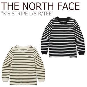 ノースフェイス Tシャツ THE NORTH FACE 男の子 女の子 K'S STRIPE L/S R/TEE ストライプ ロングスリーブ ラウンドTシャツ 長袖 IVORY BLACK NT7TL51S/T ウェア|nuna-ys