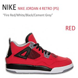 NIKE JORDAN 4 RETRO PS/Fire Red/White/Black/Cement...