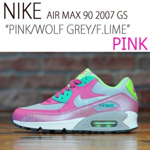 NIKE AIR MAX 90 GS PINK WOLF GREY FLASH LIME ピンク ライム レディース 345017 021 シューズ  スニーカー