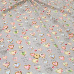 ハートクッキーデコ≪お買い得商品≫ ダブルガーゼ生地 ( Wガーゼ パジャマ おくるみ スタイ ハンカチ マスク ) 50cm単位|nuno1000netshop
