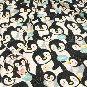 ≪P5倍≫Big!ペンギン ダブルガーゼ生地 ( Wガーゼ penguin 生地 赤ちゃん パジャマ おくるみ スタイ ハンカチ マスク ) 50cm単位|nuno1000netshop