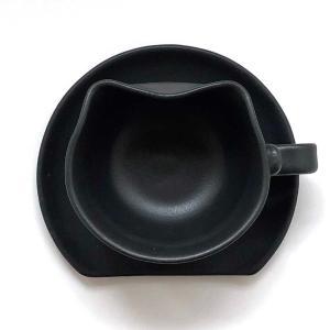 香箱座り猫カップ&ソーサー(マドラー付)黒猫Ver.|nunobikiyaki