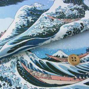 和柄厚手コットン生地・波に富士(ライトブルー)|nunogatari