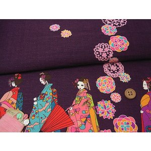 和柄コットン生地・舞妓さんのおでかけ(紫)|nunogatari