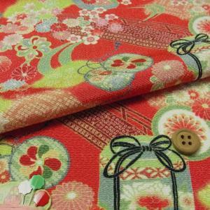 ちりめん生地・貝桶と花鼓(赤)布がたりオリジナル|nunogatari