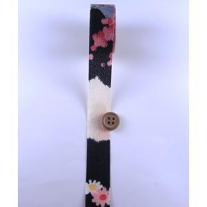一越ちりめんカットロール・柄・2.5cm幅(黒)|nunogatari