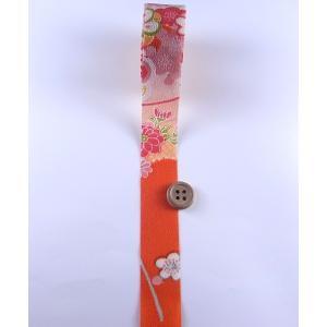 一越ちりめんカットロール・柄・2.5cm幅(オレンジ)|nunogatari
