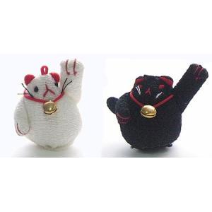 ちりめん細工パーツ(完成品)・招き猫|nunogatari