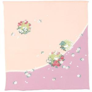 風呂敷68cm角 正絹ちりめん友禅・花の丸にうさぎ パープル|nunogatari