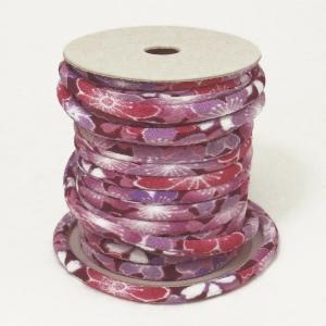 ちりめん丸ひも・柄・4ミリ(実寸約5-6ミリ) みだれ桜・紫|nunogatari