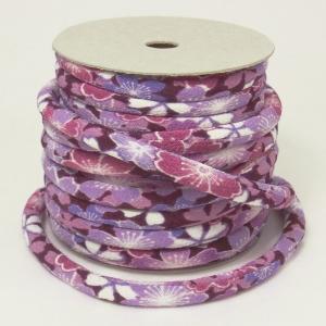 ちりめん丸ひも・柄・8ミリ(実寸約9-10ミリ) みだれ桜・紫|nunogatari