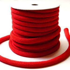ちりめん丸ひも・無地・8ミリ(実寸約9-10ミリ) 赤 nunogatari
