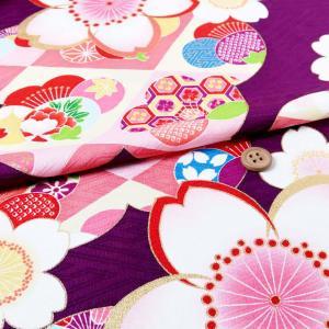 小幅ポリ京友禅 桜に梅(紫)|nunogatari