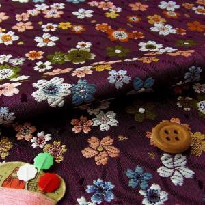 金襴生地(金らん)斜めたてわくに彩り桜(古代紫)|nunogatari