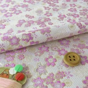 金襴生地(金らん)桜のコンチェルト(白/薄紫)|nunogatari