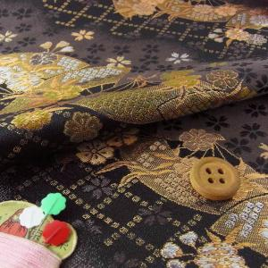 金襴生地(金らん)斜取り扇面桜(黒/グレー)|nunogatari