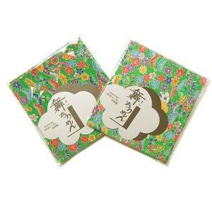 ちりめんカットクロス・花と伝統文様(緑)22×33cm|nunogatari