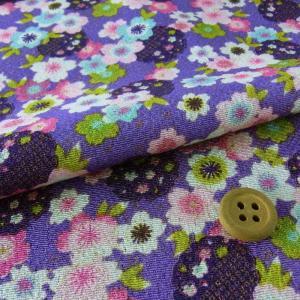 ちりめん生地・桜と雪輪(紫)|nunogatari