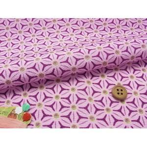 ちりめん生地・麻の葉の万華鏡(紫) nunogatari