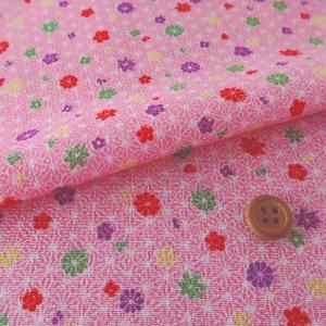 ちりめん生地 麻の葉に小花(ピンク)|nunogatari