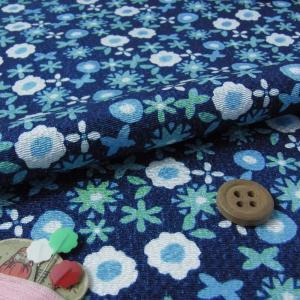 ちりめん生地・花のワルツ(紺色)|nunogatari